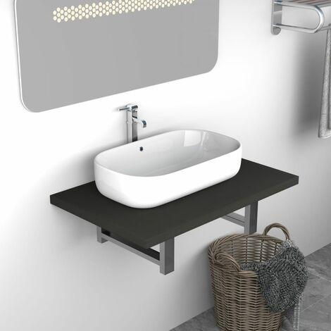 Bathroom Wall Shelf for Basin Grey 60x40x16.3 cm