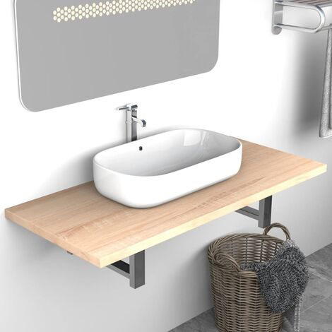 Bathroom Wall Shelf for Basin Oak 90x40x16.3 cm