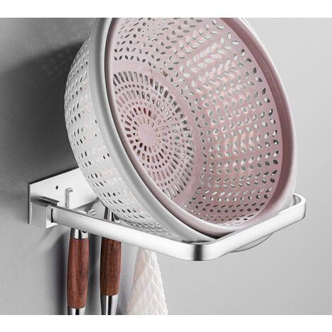 "main image of ""Bathroom Washbasin Storage, Kitchen Hook for Bathroom Toilet, Walloking Wall Bracket, Foldable Aluminum Shelf (Silver)"""