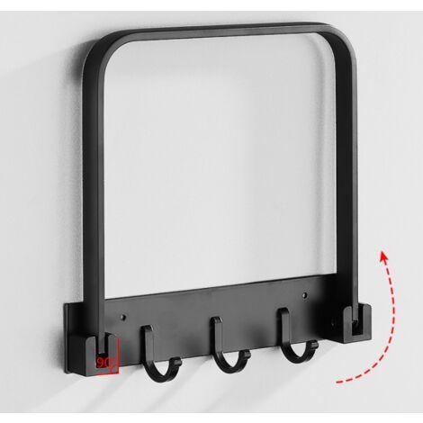 Bathroom washbasin storage stand, bathroom toilet cooking hook, washbasin wall mount, foldable aluminum shelf (black)