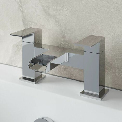Bathroom Waterfall Bath Filler Mixer Tap Square Twin Lever Modern Chrome