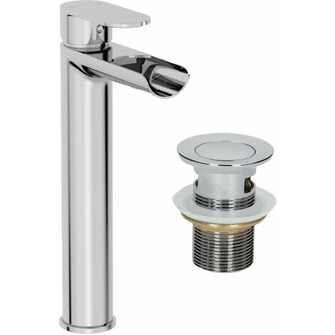 Bathroom Waterfall High Rise Mono Basin Mixer Tap Waste Modern