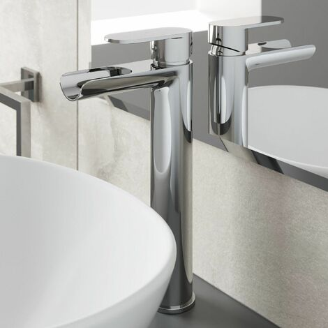 Bathroom Waterfall High Rise Tall Mono Basin Sink Mixer Tap Modern Single Lever