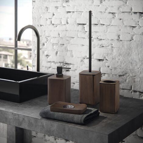 Bathroom WC 4 Piece Accessory Set Freestanding Bamboo Square Durable