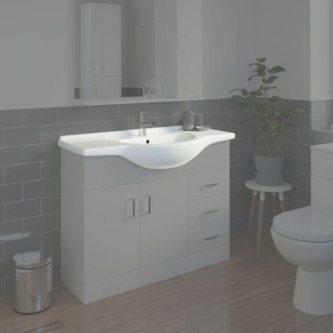 Bathroom WC Basin 1050mm Compact Sink Single Tap Hole White BASIN ONLY