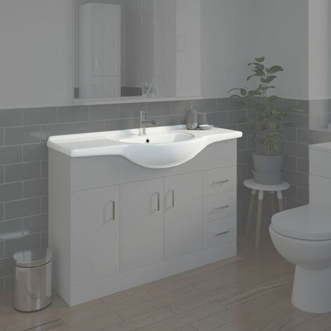 Bathroom WC Basin 1200mm Compact Sink Single Tap Hole White BASIN ONLY