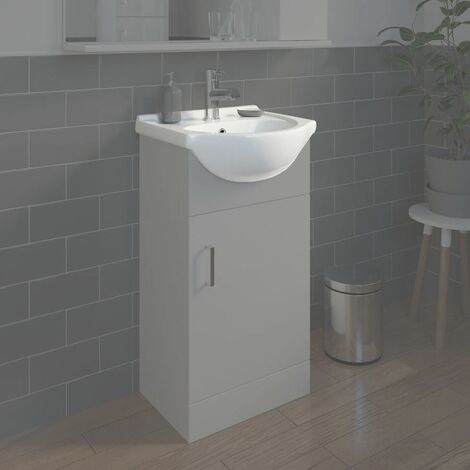 Bathroom WC Basin 450mm Compact Sink Single Tap Hole White BASIN ONLY