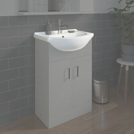 Bathroom WC Basin 550mm Compact Sink Single Tap Hole White BASIN ONLY