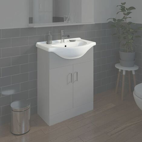 Bathroom WC Basin 650mm Compact Sink Single Tap Hole White BASIN ONLY