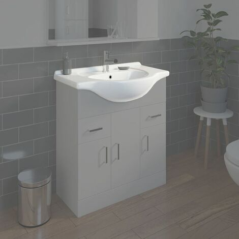 Bathroom WC Basin 750mm Compact Sink Single Tap Hole White BASIN ONLY
