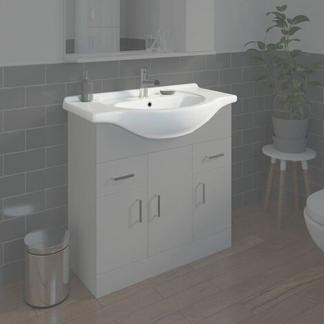 Bathroom WC Basin 850mm Compact Sink Single Tap Hole White BASIN ONLY