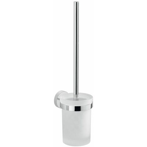 Bathroom WC Chrome Toilet Brush Holder Frosted Glass Wall Mounted Stylish Modern