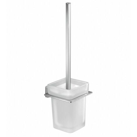 Bathroom WC Chrome Toilet Brush Square Wall Mounted Stylish Modern Frosted Glass