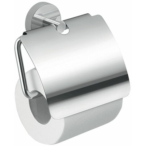 Bathroom WC Chrome Toilet Roll Holder Cover Wall Mounted Round Stylish Modern
