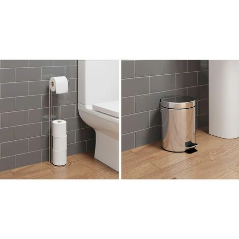 Bathroom WC Round Floor Standing Chrome Toilet Roll Holder 5L Round Bin Modern