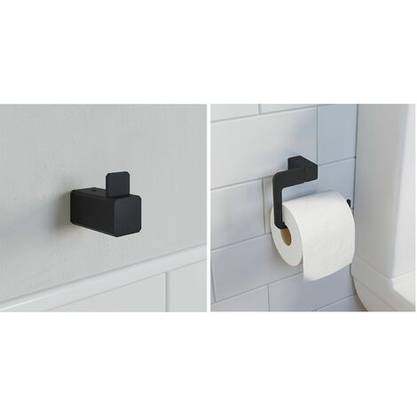 Bathroom WC Set Robe Hook Toilet Roll Holder Black Square Wall Mounted Stylish