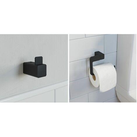 Bathroom WC Set Robe Hook Toilet Roll Holder Black Square Wall Mounted Stylish