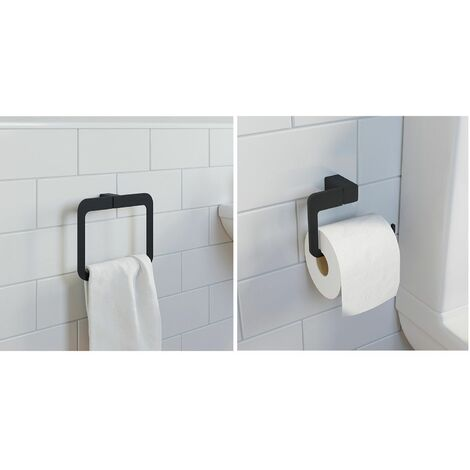 Bathroom WC Set Towel Ring Toilet Roll Holder Black Square Wall Mounted Stylish