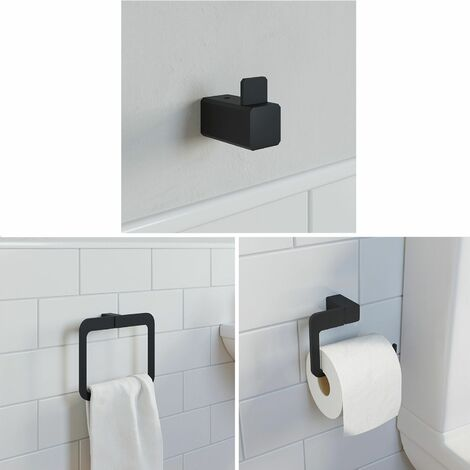 Bathroom WC Set Towel Ring Toilet Roll Holder Robe Hook Black Square Wall Mount