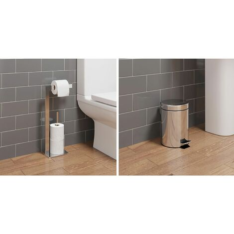 Bathroom WC Square Floor Standing Chrome Toilet Roll Holder 3L Round Bin Modern