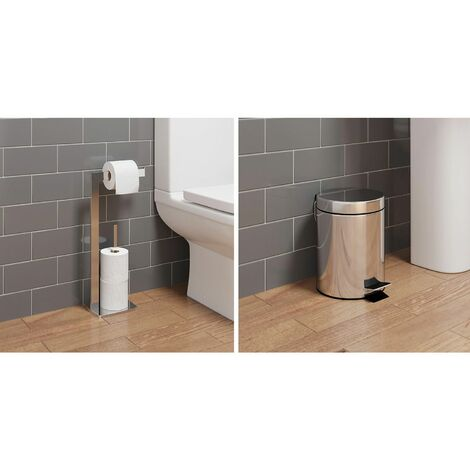 Bathroom WC Square Floor Standing Chrome Toilet Roll Holder 5L Round Bin Modern