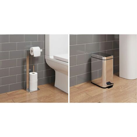 Bathroom WC Square Floor Standing Chrome Toilet Roll Holder 5L Square Bin Modern