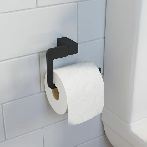 Bathroom WC Toilet Roll Holder Black Square Wall Mounted Stylish Modern