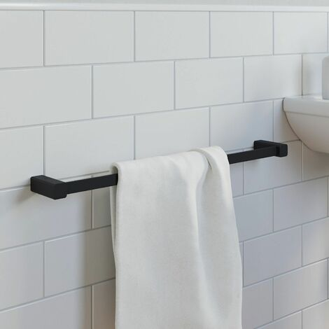 "main image of ""Bathroom WC Towel Rail 600mm Black Square Wall Mounted Stylish Modern"""
