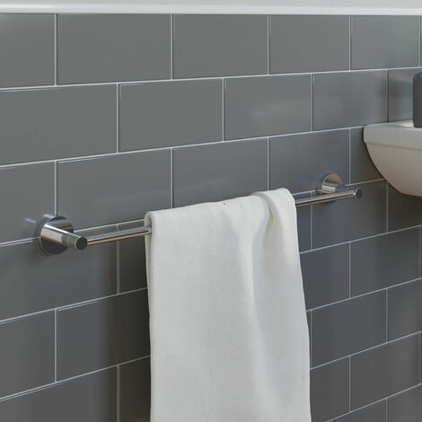 Bathroom WC Towel Rail 600mm Chrome Round Wall Mounted Stylish Modern