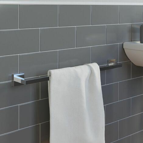 Bathroom WC Towel Rail Chrome Square Wall Mounted Stylish Modern