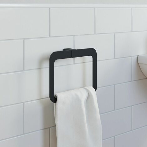 Bathroom WC Towel Ring Black Square Wall Mounted Stylish Modern