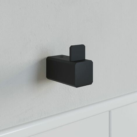 Bathroom WC Towel Robe Hook Holder Black Square Wall Mounted Stylish Modern