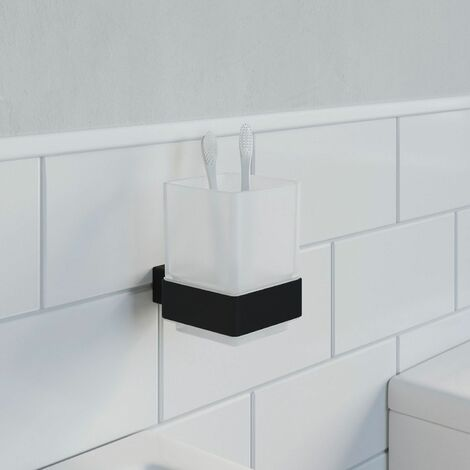 Bathroom WC Tumbler Toothbrush Holder Black Square Wall Mounted Stylish Modern