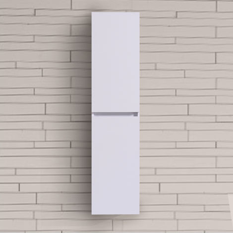 Bathroom White 1400mm High Tall Wall Hung Cabinet Cupboard Storage Furniture