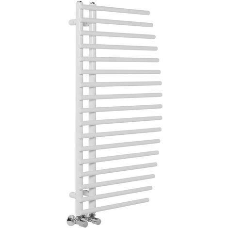 Bathroom White Heated Warming Curved Towel Rail Radiator Rad 1000 x 550mm