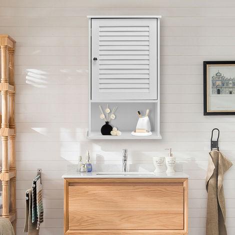 Bathroom Wooden Wall Cabinet White Shutter Door Mounted Storage Shelf P 4966965 10753337 1 Jpg