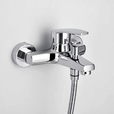 Bathtub Shower Taps Brass Chrome Bathroom Faucets with G1 / 2 Standard Silver Wall Mount