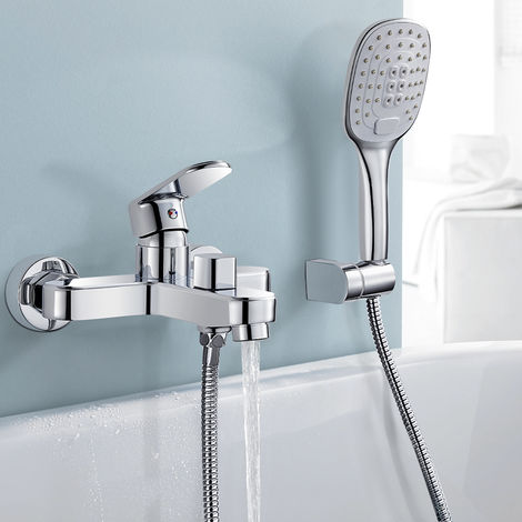 Bathtub Tap with Hand Shower, WOOHSE Bathtub Faucet with 3 Spray Types Bathtub Tap Bathtub Mixer with Diverter, Exposed, Single Lever Shower Mixer Tap with 1.5m Shower Hose