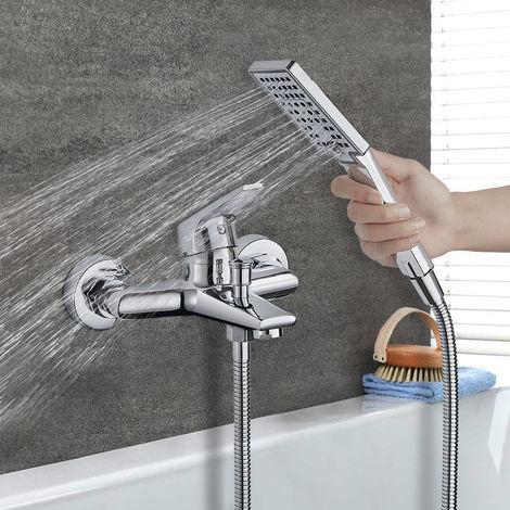 Bathtub Tap with Shower, WOOHSE Bathtub Tap, Hand Shower with 3 Spray Modes, Tub Tap, Bathtub Faucet incl. Wall Bracket, Mixer Tap, Shower, Bathtub & Shower Systems