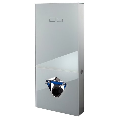 Bâti-support digital en verre blanc avec commande sensitive pour wc suspendu - pose en applique