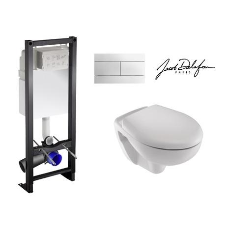 Bati support, wc cuvette Mideo Jacob delafon et abattant standard - plaque blanche ou chromée