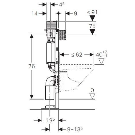 Bâti-support WC faible hauteur 82 cm Geberit Duofix Omega 12 cm autoportant 111.009.00.1 Geberit