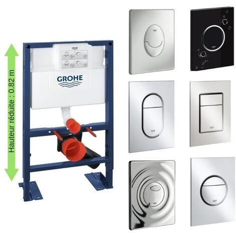 Bati support wc hauteur réduite avec plaque de commande Grohe, plaque commande Skate Air, horizontal , chrome