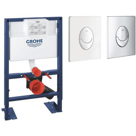 Bati support wc hauteur reduite + Plaque commande Skate Air Grohe vertical