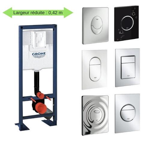 Bati support wc largeur réduite avec plaque de commande Grohe, plaque commande Skate Air, horizontal , chrome