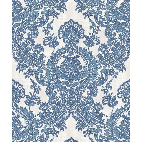 Batik Blue Wallpaper Damask Traditional Glitter Sparkle Feature Paper Grandeco