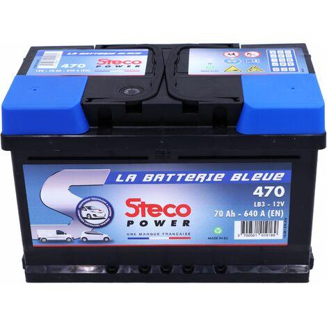 Batterie 12V 70Ah 640A 278x175x175 Gamme Bleue STECOPOWER - 470 - -