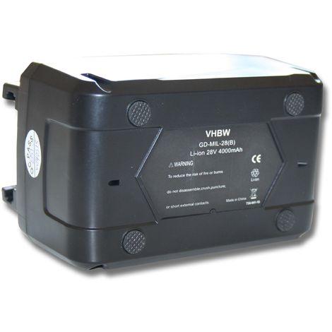 Batterie 4000mAh (28V) vhbw pour outils AEG Milwaukee C 12-28 DCR, M28, M28B, M28BX, MC28 V, M28 B, M28 BX, MC 28 comme 4932352732, 4933416345.