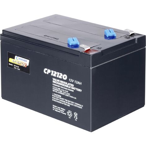 Batterie au plomb 12 V 12 Ah Conrad energy 12 V 12 Ah plomb (AGM) (l x H x P) 151 x 95 x 98 mm cosses plates 6,35 mm sans entretien A37098