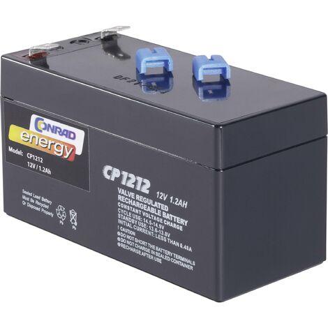 Batterie au plomb 12 V 1.2 Ah Conrad energy CE12V/1,2Ah plomb (AGM) (l x H x P) 97 x 52 x 43 mm cosses plates 4,8 mm sans entretien A37983